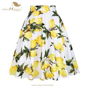 50 SISHION Mujeres Faldas limón amarillo limón Impreso de cintura alta oscilación del Rockabilly plisado Midi Faldas Mujer Falda Escuela de Verano