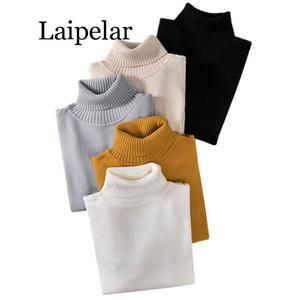 Suéter de otoño e invierno de Laipelar Camisa de punto de fondo para mujer Elástico jersey de manga larga Cuello alto jersey de punto para mujer