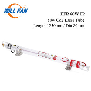 Will Fan 80W EFR F2 del laser del CO2 del tubo Longitud 1250 mm Diámetro 80 mm para el CNC de grabado láser máquina del cortador