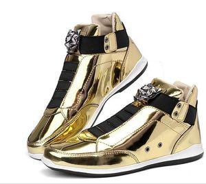 2020 fresco Men High Top Homens Gold Glitter Sneakers Bling Zip Platform Flats Sapatos Homem de prata brilhante cabeça krasovki Leopard Shoes