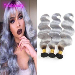 Malaysian Human Hair 9A 1B Grau Körperwelle 3 Stücke Ein Satz Doppeleinschlagfäden 1B / Gray Ombre Hair Products