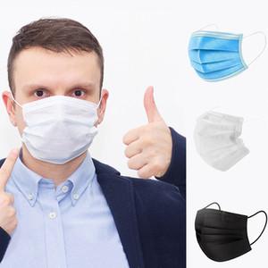 DHL transporte livre 3-7 dias para Máscaras US descartáveis rosto com Elastic Ear laço 3 Ply respirável para Bloqueio máscara de pó Air Anti-Poluição