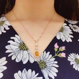 Natural collar de citrino, 925, diseño de lujo, Lucky Fortune cristal amarillo