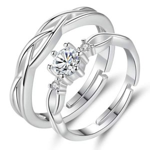 S925 Sterling Silver Zircon Couple Ring Simple Twisted Opening Resizable Men and Women Rings Fashion Wedding Jewelry
