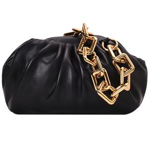 Leder-Umschlag-Wolke Tasche Weiche Wrinkled Dumpling Schulter Messenger Bag Big Kettenriemen Handtaschen Klassische Abendclutch Beutel-Geldbeutel