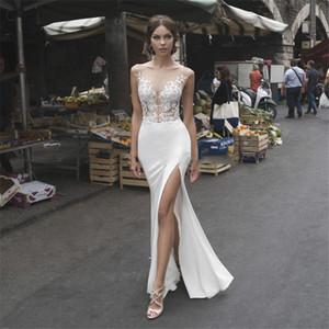섹시한 투명한 아플리케 레이스 인어 웨딩 드레스 간단한 2,020 섹시한 분할 사이드 신부 드레스 층 길이 사용자 정의 온라인 로브 드 Mariee