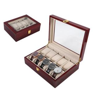 10 Grids Wooden Wrist Watch Display Box Jewelry Storage Organizer Case watch box