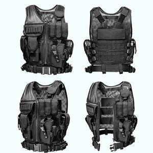 Outlife Homens Tactical Vest Paintball Camouflage Molle Hunting Vest assalto Tiro Caça placa de suporte com estojo
