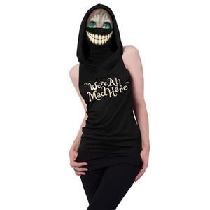 Frauen Halloween Cosplay T-Shirt 3D Schädel mit Kapuze Ärmel Brief Slim Fit T-Stücke Famale Designerkleidung