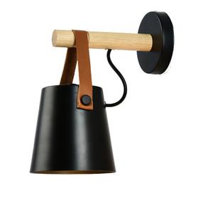 Nordic Macaron cinturón lámpara de pared dormitorio creativo junto a la cama lámpara E27 sala de estar escalera pasillo pasillo balcón negro blanco luz de pared Le1