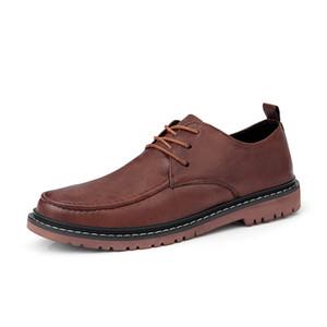 Cuero genuino Bullock zapatos de los hombres del estilo británico retro Hombres Oxford zapatos de los planos de negocios formal Vestido Casual Male Botas HC-411