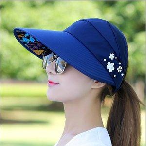HOT Sonnenhut Sonnenblende Hüte für Frauen Wide Brim UV-Schutz Cap floral Sonnenhut Sommer Floppy Beach Packable Cap Outdoor Pferdeschwanz Hüte