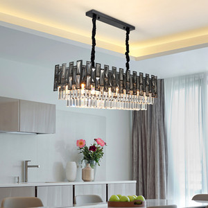New design modern rectangle 8-light L 85cm x H 30cm smoky  chandelier crystal lighting led pendant lights for living room bedroom