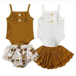 Roupas de bebê meninas Define Crianças Suspender macacãozinho Falbala Impresso Saias Ternos criança de arco botão Outfits Playsuit Roupa Set PY447