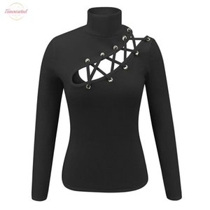 Women Slim Fit Loose T Shirt Ladies Autumn Casual Hollow Long Sleeve Crop Round Neck Tops T Polyester Shirts Evening Stretch Sports