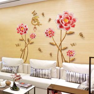 20190621 New Pink Flower Papel de parede chinês moderno auto-adesivo