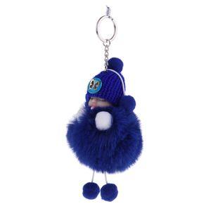 2pcs Cute Sleeping Baby Soft Plush Doll Keyrings Trinket Charm Key Chain Pendants (Dark Blue)