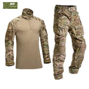 HANWILD Männer Tactical Uniform Hemd Armee-Kampf-Jagd-Hosen mit Knieschützer Camouflage Training Trekking-Bekleidung S19