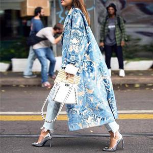 Floral das mulheres outono padrão impresso Jacket Longo Blends Coats Feminino luva partido longo Vintage elegante Mulher Coats Inverno 2019