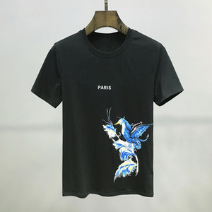Mode T-shirt Concise oiseaux Impression Pure Cotton col rond T-shirt Hommes Femmes Couples de haute qualité Tee Noir Blanc S-2XL