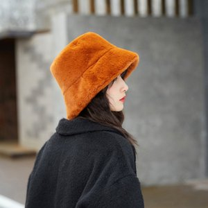Повседневная мода Bucket Hat женщин осенью и зимой Плюшевые Bucket Hat