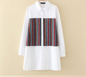 Plus size women's top and blouses 2019 spring new Korean version of fashion casual color stripe stick cloth longsleeve shirt 3XL