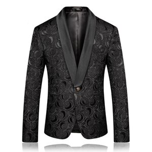 PYJTRL Moda Uomo Nero Bianco jacquard della Rosa Blazer slim fit Giacca