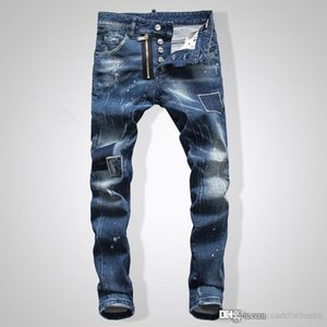 man jeans High quality Mens jeans Distressed Motorcycle biker jeans Skinny Slim Ripped hole fashion Hip Hop Biker Denim men pants