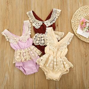 Abbigliamento neonato bambino neonato vestiti cotone e lino bordo di pizzo bordo senza schienale ragazza ragazza bodysuit sling crawler bambino pagliaccetto vestiti per 0-12m