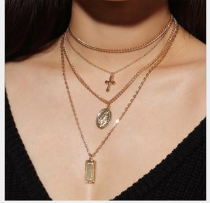 Jewellery retro exaggerated personality Eurofan Necklace Alloy Notre Dame Cross multi-layer Pendant Necklace