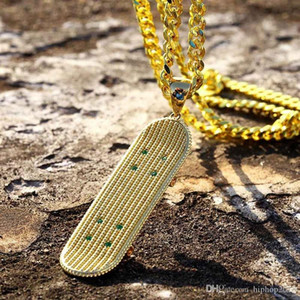 Mens Hip Hop Necklace Jewelry Silver Gold Cuban Link Chain New Fashion Skateboard Pendant Necklace For Men