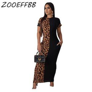 ZKYZWX Plus Size Leopard Print Dress donne cadono i vestiti Abiti vestito elegante oversize Streetwear Cheetah maxi abiti T200320
