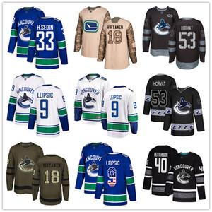 Custom Vancouver Canucks Jersey Sedin Bo Horvat Jake Virtanen Jacob Markstorm 9 Brock Boeser Elias Pettersson USA Fashion hockey jerseys