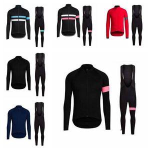 RAPHA 2019 team Cycling 긴 소매 저지 턱받이 바지 세트 봄 가을 자전거 의류 Mountain Bike Wear Outdoor Sportswear K013031