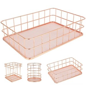 Metal Storage Basket Home Storage & Organization Housekeeping & Organizations, 4-Pack Mesh Wire Basket Set Iron Hollow Makeup Brush Holder M