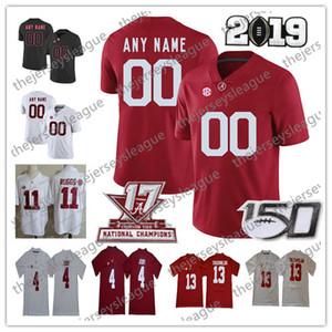 2019 Alabama Crimson Tide 150º personalizado Qualquer Nome Número costurado Branco Vermelho # 2 Patrick Surtain II 88 Maior Tennison NCAA Football Jersey