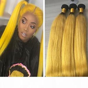 9A Günstige brasilianischen Ombre Gelb Hair Bundles gerade Art Rohboden Hellgelb Menschliches Haar Weave Tressen Extensions