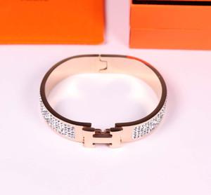 llena de piedra HB0 cristal brazalete de la joyería caliente de la venta de acero inoxidable de la letra H de la moda tienen tres colores eligen