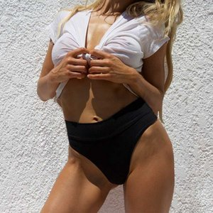 Sexy Summer Beach Shorts 2020 das Mulheres cintura alta Swimsuit Bikini Bottoms Tankini inferior Swim Shorts Tamanho Grande Ladies'