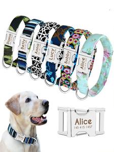 Collare di cane cane guinzagli Personalizzato nylon Pet Dog Tag collare del gatto del cucciolo inciso ID Tag Targa collari per le piccole medie cani di taglia grande