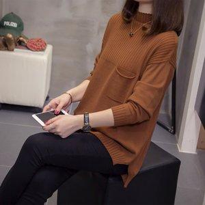 tamaño DONAMOL Plus Nueva prometedor 2020 otoño invierno de cuello alto de manga larga de los suéteres Jerseys con un bolsillo mujeres sueltan la tapa del Knit