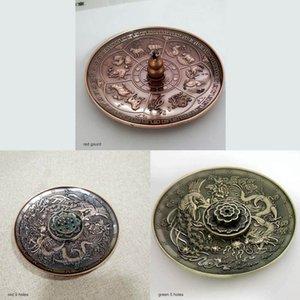 Four Encens Base de bâton de l'encens Rouge Bronze Motif dragon porte-brûleur 12 zodiaque chinois encensoir plaque aromathérapie bougie