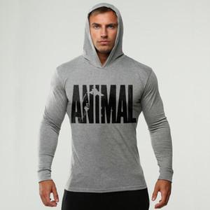 Marka Giyim HAYVAN Uzun Kollu Slim Fit Kapşonlu T gömlek erkekler Pamuk Tee Gömlek Bodybuilding ve Fitness Sportwear tshirt baskılı