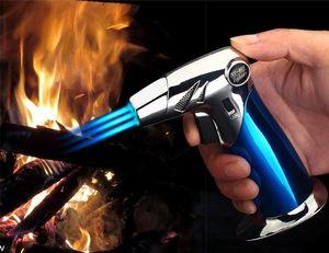 Nuovo arrivo Gas Jet Lighter esterna Tripla Torch Lighter Per tubo del sigaro potente antivento cucina dello spruzzo Gun Metal Gadget per l'uomo