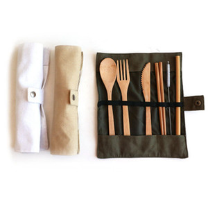 Louça de madeira conjunto bambu colheres de chá de sopa faca de sopa palha cutelaria cutelaria conjunto com saco de pano cozinha cozinhar bebê alimentação ferramentas zza1148