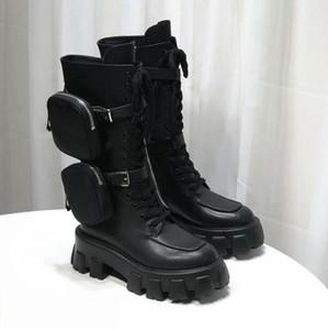 Pelle Moto Piattaforma Stivali Donne Bota Feminina Inverno Botas Mujer Lace Up combattimento Botines Mujer Monolith Boots Zapatos De Mujer