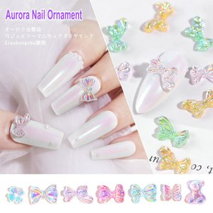10pcs box 3box bags Nail Art Decorations INS Explosion Aurora Symphony Nail Bow Ornament Butterfly Bowknot Bear Flower Daisy 2020 New Design