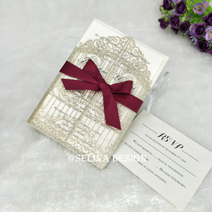 Champagne Glitter Gate-fold Laser Cut Wedding Invites With Burgundy Bow and Envelope, DIY Invitations Customizable Printing, Free Shipping