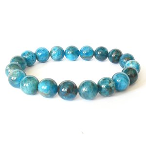 MG0515 En vente 10 mm Apatite Bleue Bracelet Empilable Bracelet en pierres précieuses de haute qualité Protection Protection émotionnelle Bien-être Bracelet