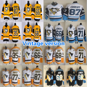 Uomo Pittsburgh Penguins fantastico Vintage maglie 87 CROSBY 66 LEMIEUX 68 JAGR 71 Maklin 77 COFFEY 35 Barrasso CCM Hockey maglie